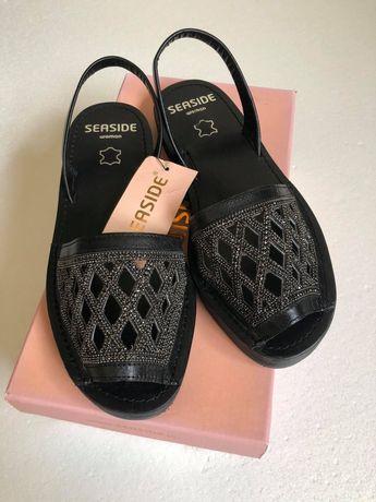 Sandálias pretas pele genuína, Seaside, 37, etiqueta