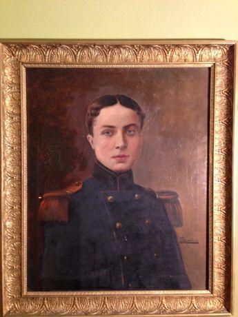 Stary portret oficera olej na płótnie XIX wiek staroć antyk militaria