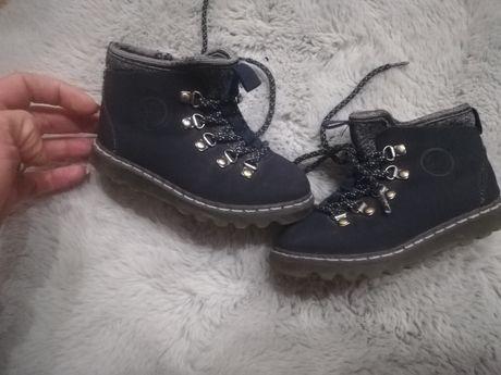 Botki buty botki Zara r. 22 granatowe śliczne kozaczki