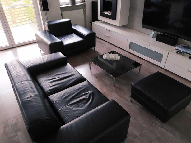 Komplet ze skóry, czarny: sofa+podnóżek+fotel