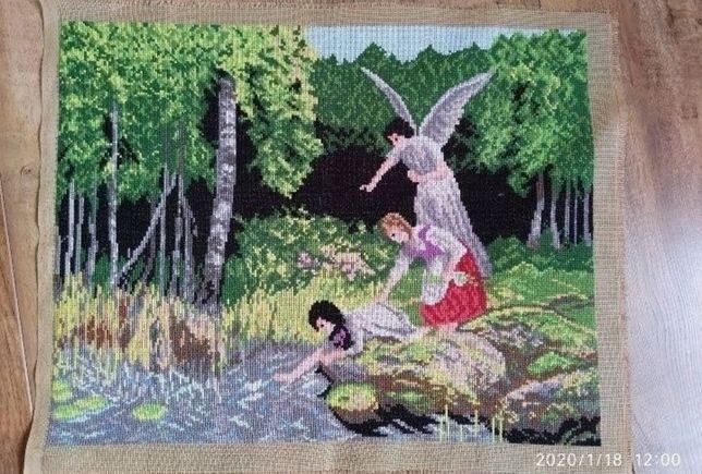 Anioł stróż haft krzyżykowy