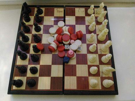 Шахматы Шашки Нарды 3 в 1 на магнитах