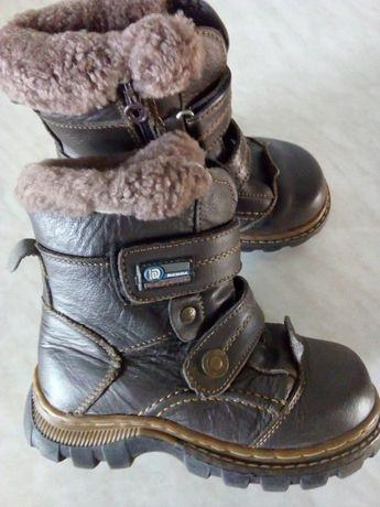 КОЖАНЫЕ , зимние ботинки-сапожки на мальчика, 31 р.-18.5 см ст.
