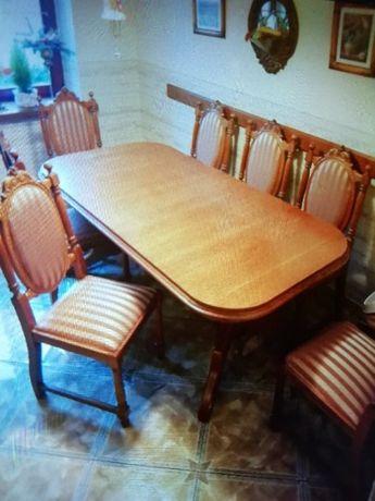 Stół Dębowy + 8 Krzeseł Dębowych