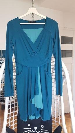 Twin Set turkusowa z kieszeniami sukienka M