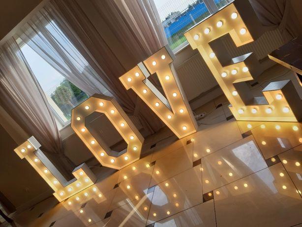 Napis Litery LOVE świecący led duży podświetlany Dekoracje Weselne