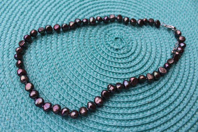 czarne naturalne perły słodkowodne nowe dł 45cm