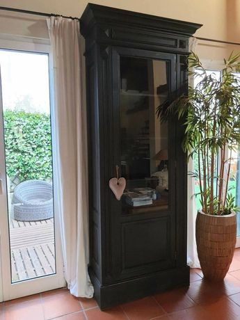 armario, vitrine, louceiro, cristaleira, prateleiras, rustico, preto