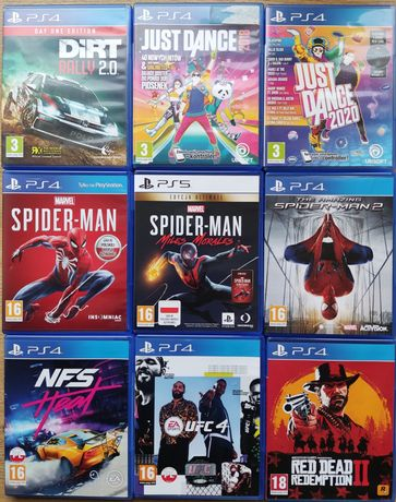 Gry PS4 Spiderman Just dance Red Dead Redemption NFS Heat Dirt Rally