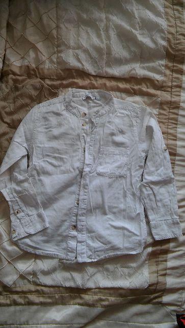 My Wear Young biała koszula z lnem dla chłopca 122-128 cm
