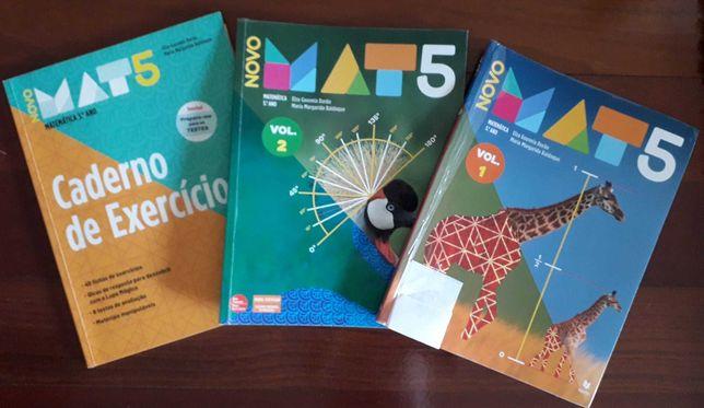 """Livro de Matemática do 5º ano """"Novo MAT 5"""" (Como novo)"""