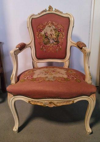 Fotel Rokoko tapicerka gobelinowa