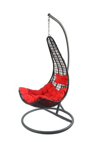 Fotel Wiszący Bujany Ogród Huśtawka Czarny Fotel Czerwona Poduszka