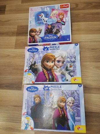 Zestaw 3 kompletów puzzli Frozen, Kraina Lodu, wiek 3+, 4+
