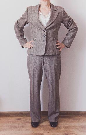 Garnitur damski M kostium brązowo -beżowy