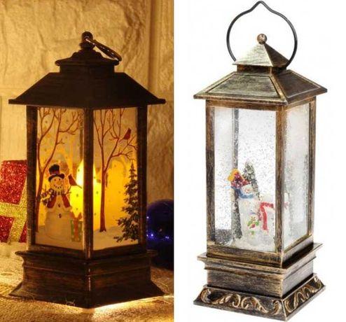 """Новогодний декоративный подвесной фонарь """"Снеговик"""" 28см с LED"""