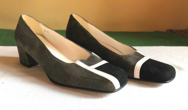 buty apart nowe zamszowe na słupku eleganckie khaki czerń biel 36