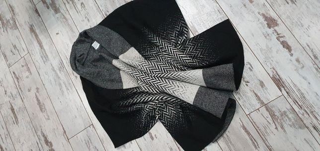 Madeleine r. M czarno-biały luksusowy kardigan narzutka płaszcz