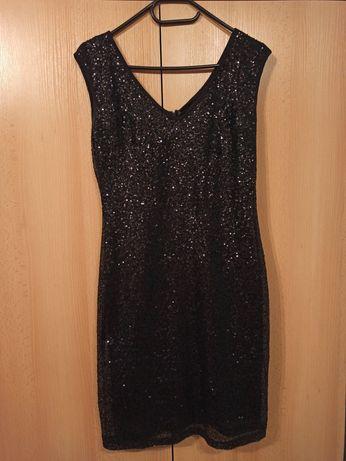 Sukienka wieczorowa, elegancka czarna z cekinami, Reserved