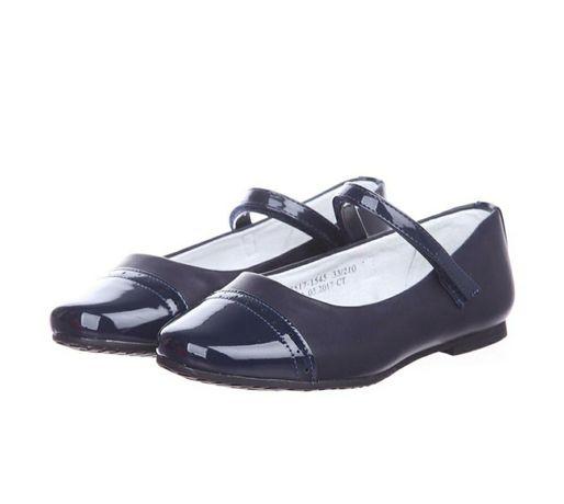 Темно- синие туфли для девочки на низком каблуке, 31