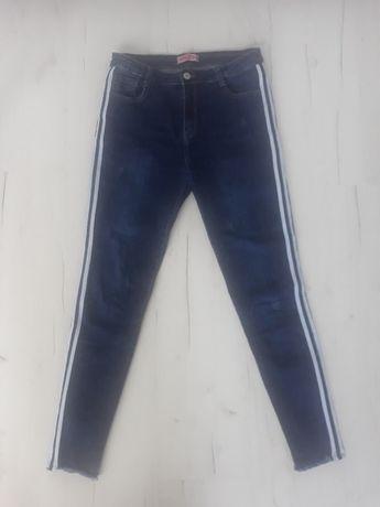 jeansy lampas przetarcia raz założone 38 M rurki