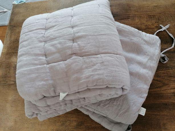 Zestaw narzuta na łóżko/kołdra i poduszka zana by mama lniana szara o