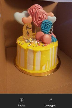 Topper na tort serduszka 4szt