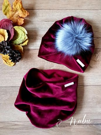 Zestaw czapka turban i chusta lub komin welur wzory