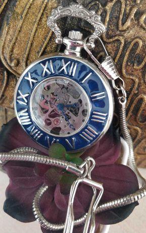 Relógio bolso de corda vintage Skeleton, mecânico vintage banho prata