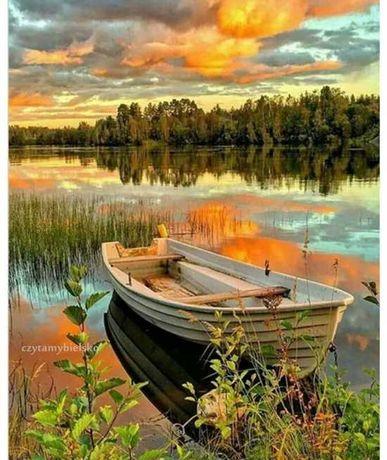 Namaluj obraz sam -* łódka jezioro las * do malowania po numerach