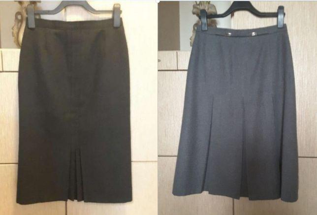 Spódnica wełniana popielata czarna midi , rozmiar M L