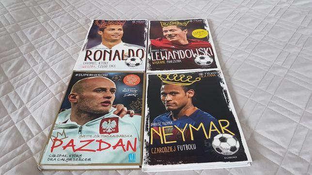 Zestaw 4 książek dla dzieci o Lewandowskim, Ronaldo, Neymar i Pazdan