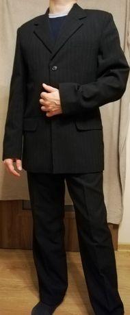 TANIO! Czarny Garnitur męski Groand 176, idealny na ślub, wesele itp.