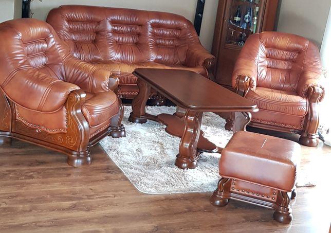 Meble Kler skórzane drewniane kanapa fotele i ława brązowe