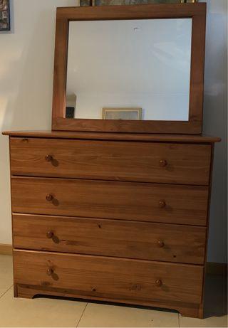 Móvel + espelho em madeira de Pinheiro