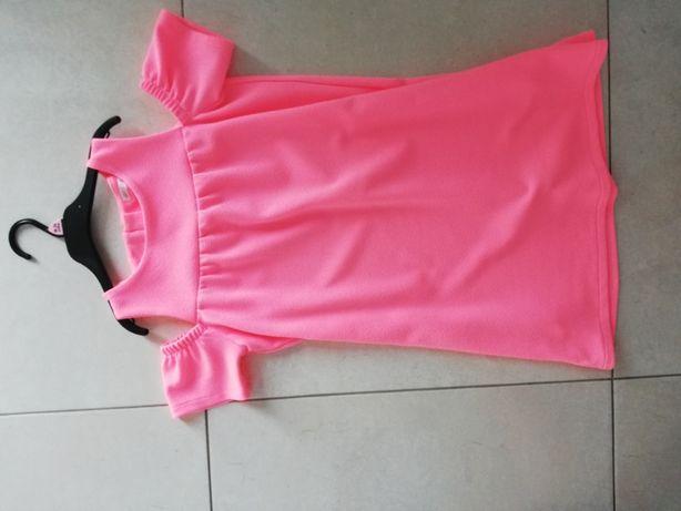 sukienka 140 neonowy róz