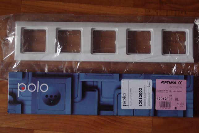 Рамка для розеток белая 5-кратная Polo Optima (Hager) 12012002