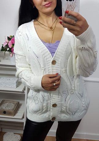 Sweter sweterek rozpinany kremowy perełki 38,40,42 nowy