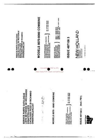 Katalog części kombajn Clayston 8070, 8080