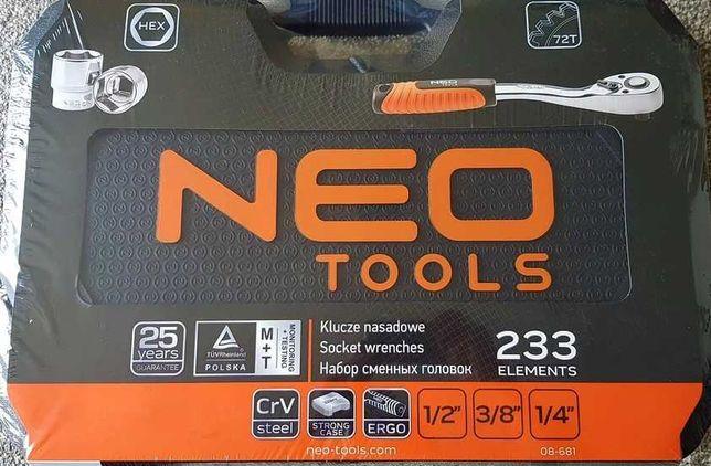 Neo tools klucze nasadowe zestaw 233 elementy 08-681, Nowe