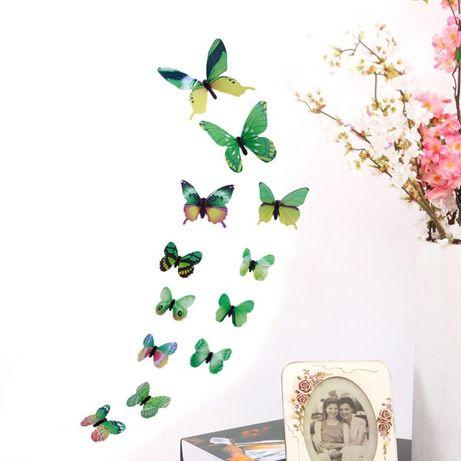 12 borboletas autocolantes verdes 3D para decoração de parede