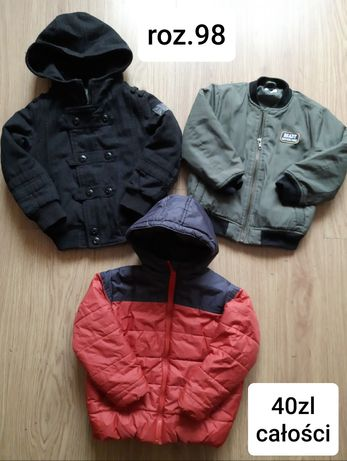 Kurtka zimowa,  przejściowa kurtki 2szt+ 1gratis roz 98