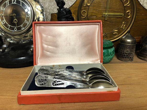 Мельхиоровые чайные ложки скань, филигрань 5 шт, набор СССР.