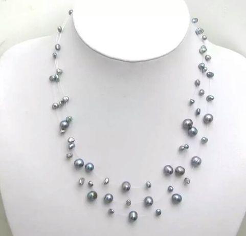 Натуральный пресноводный жемчуг- ожерелье и серьги- гвоздики
