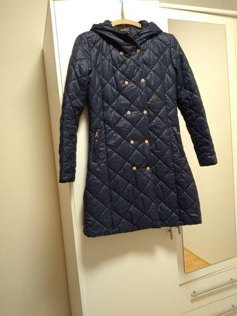 Пальто легкое утепленное темно синнее