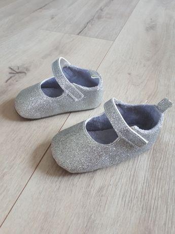 Srebrne buty niemowlęce niechodki