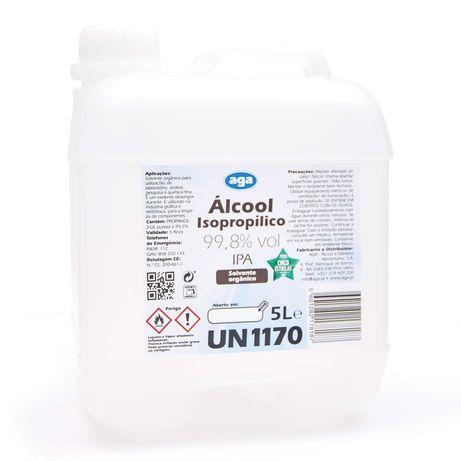 Álcool isopropílico (IPA) 5 Litros, para impressão 3d e eletrónica