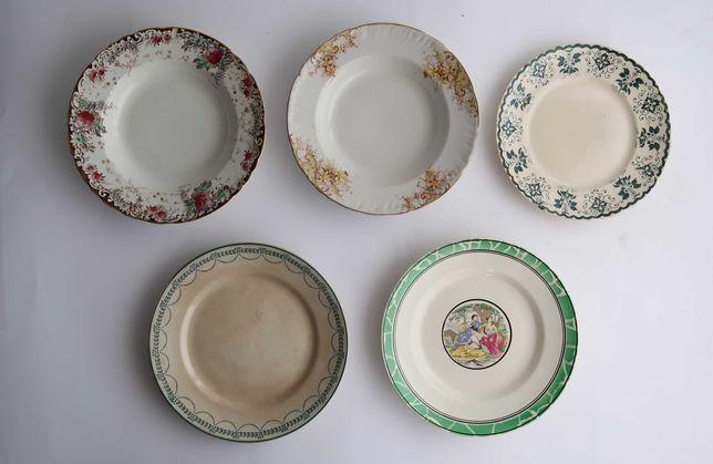 Lote com 5 pratos em faiança antiga Portuguesa (ref. 1)