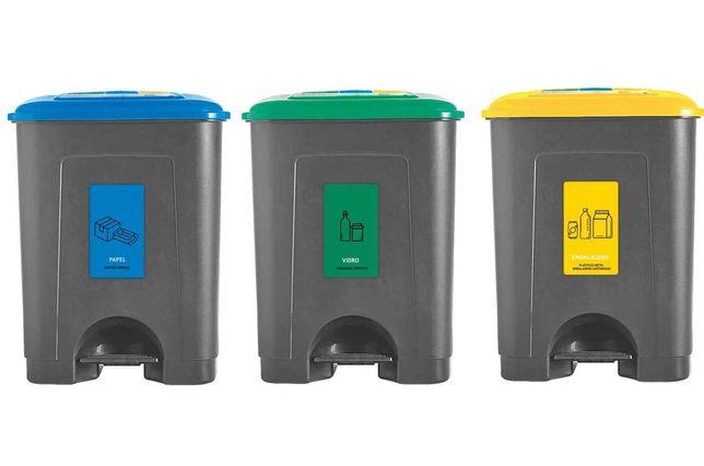 """Conjunto 3 Baldes Reciclagem Plástico 3x35L Cinza """"Kasa"""" - Novos"""