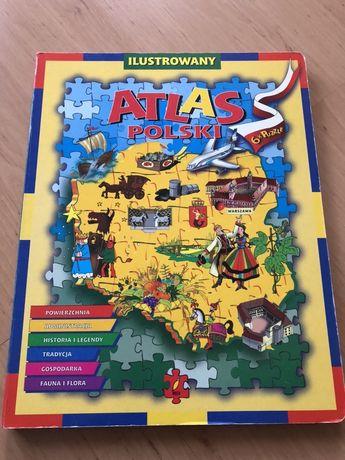 PUZZLE Atlas Polski - puzzle x 6 - ksiazka z puzzlami